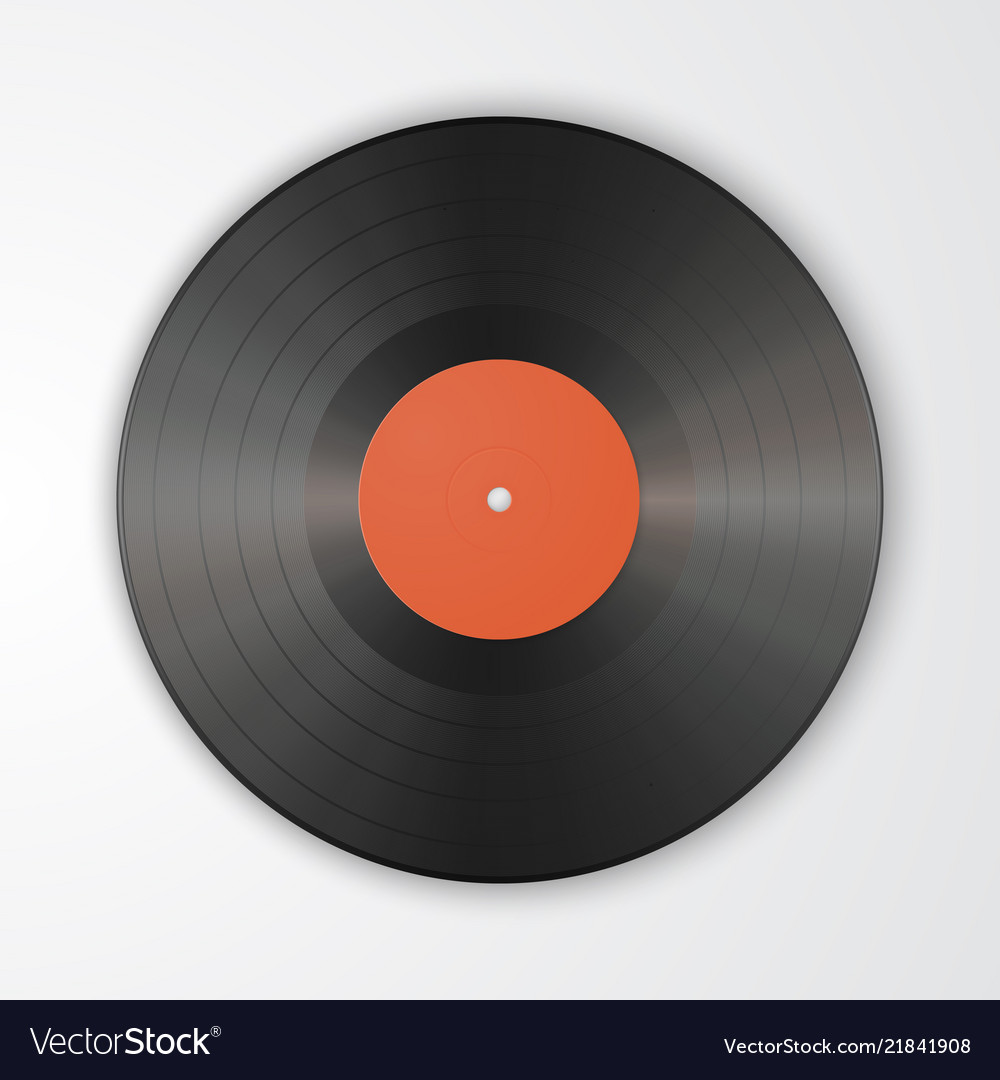 Gramophone vinyl lp record template isolated on