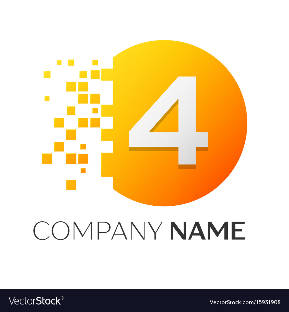 Number four logo symbol in colorful circle
