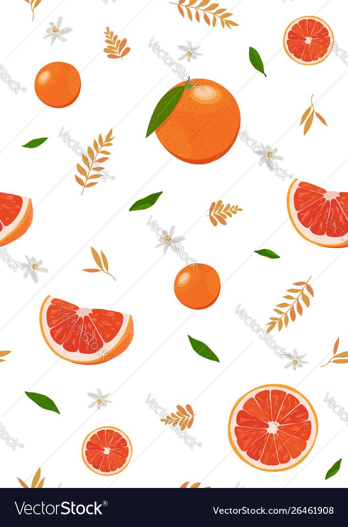 Orange fruits and slice seamless pattern