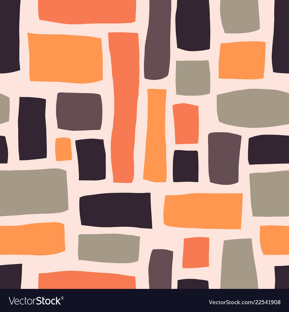 Rectangle shapes hand drawn seamless pattern