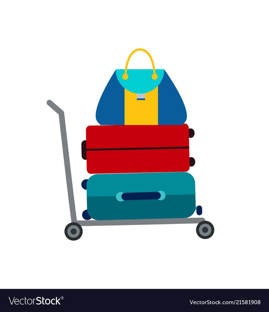 Set of luggage suitcase transportation cart