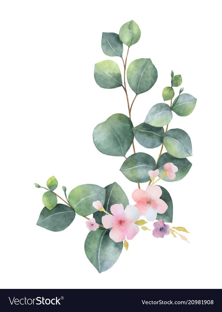 Watercolor bouquet with green eucalyptus