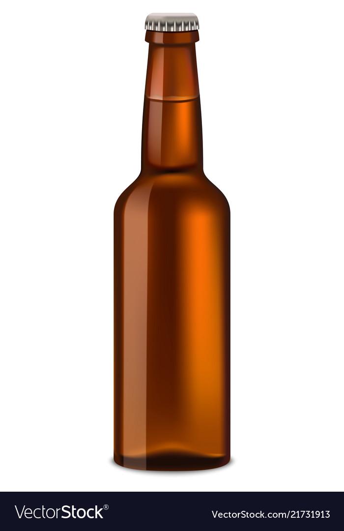 Bottle of beer mockup realistic style