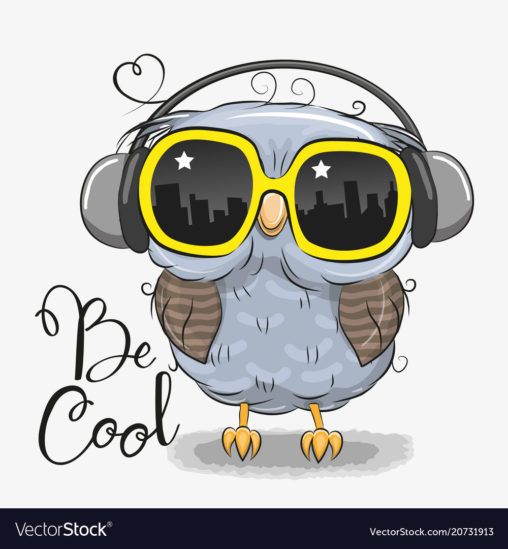 Cute Owl With Sun Glasses Vector Image