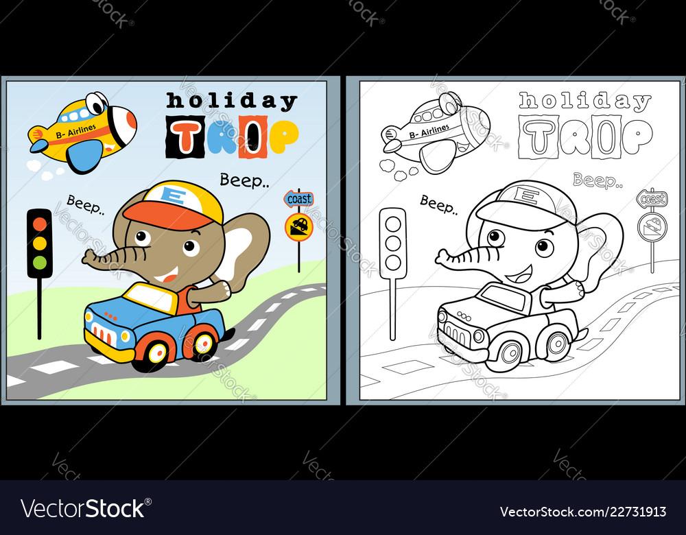 Holiday trip with little elephant cartoon