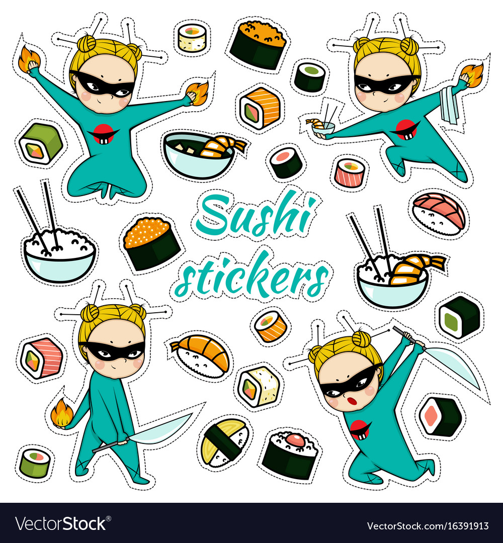 Isolated sushi stickers pattern vector image