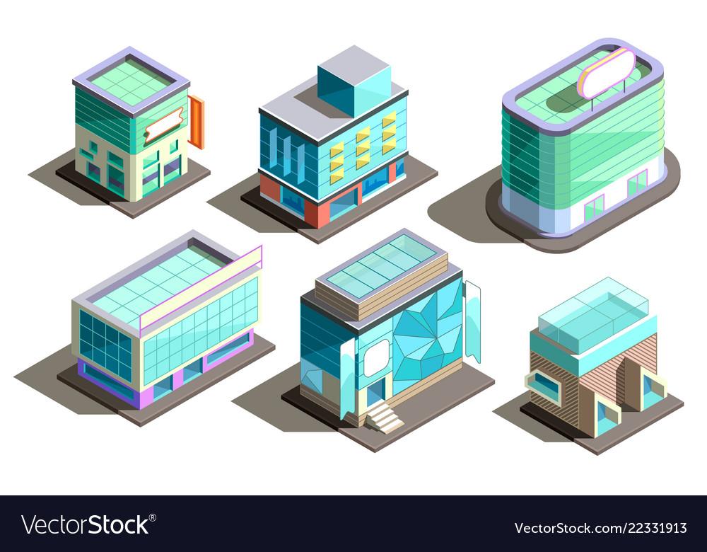 Isometric modern buildings cartoon