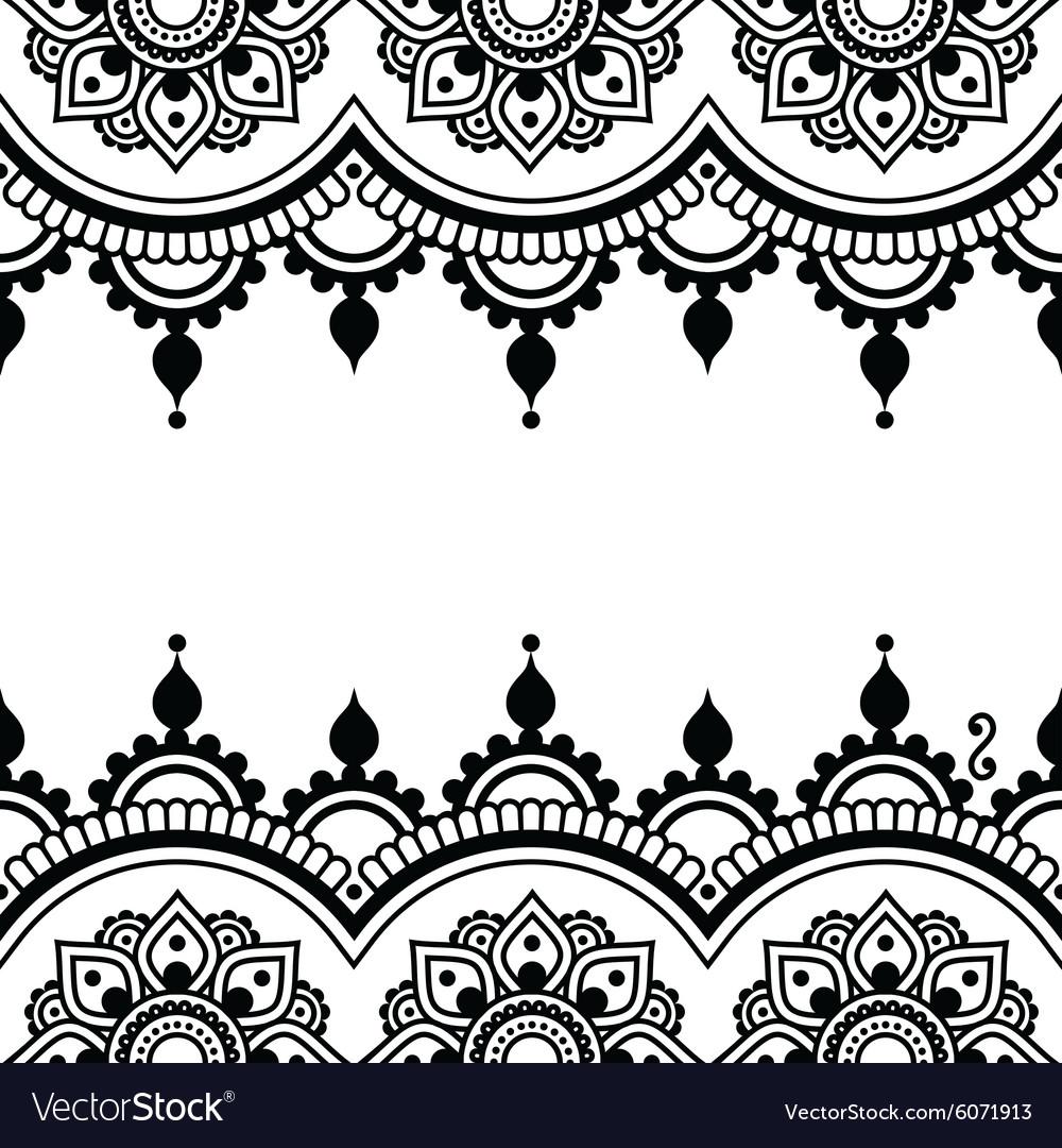 Henna Tattoo Vector: Mehndi Indian Henna Tattoo Design Greetings Card Vector Image