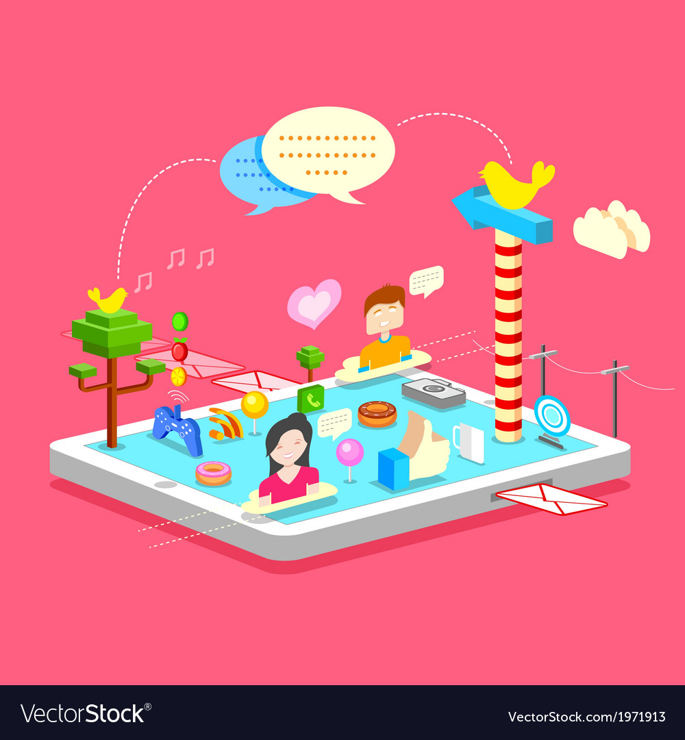 Mobile Social Media vector image