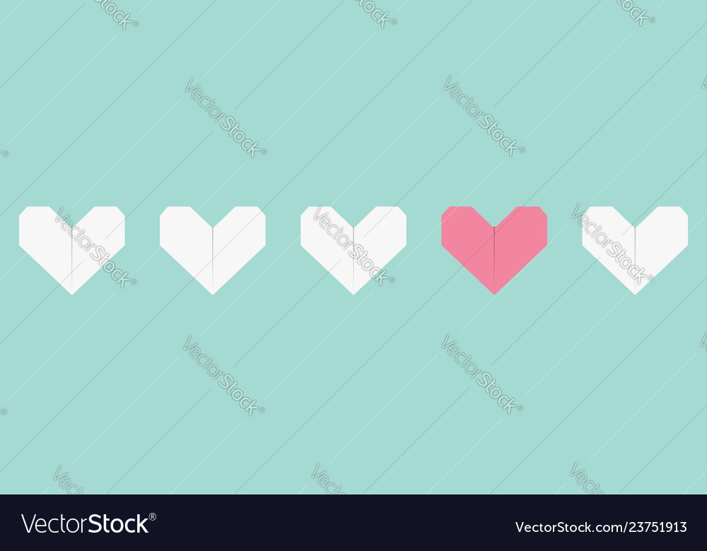 Origami paper heart icon set white and pink color