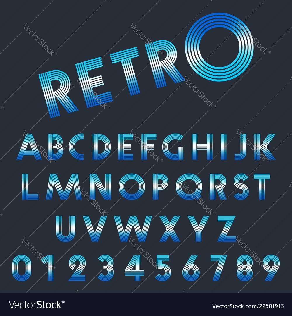 Retro light font template set of letters