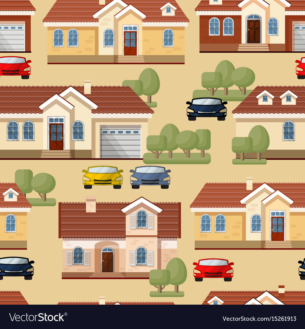 Seamless pattern of cars trees and houses