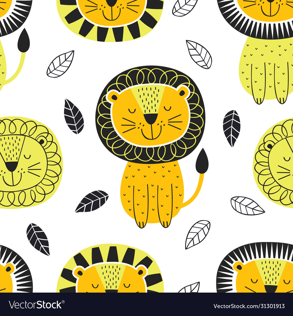 Seamless pattern with lion in scandinavian style