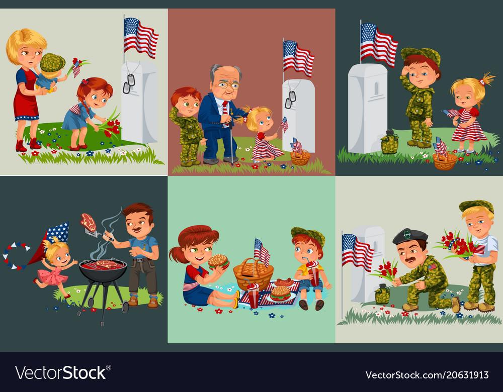 Senior man with children in military cemetery near