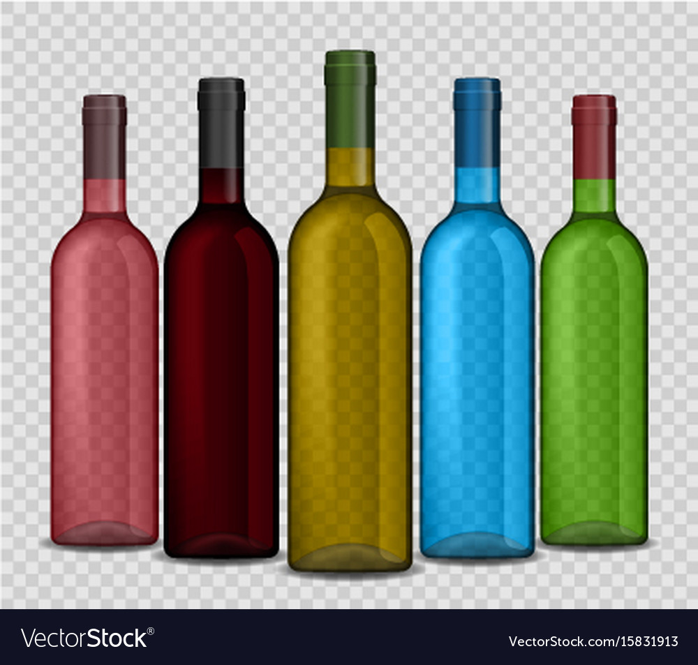 Set of realistic wine bottle on a transparent