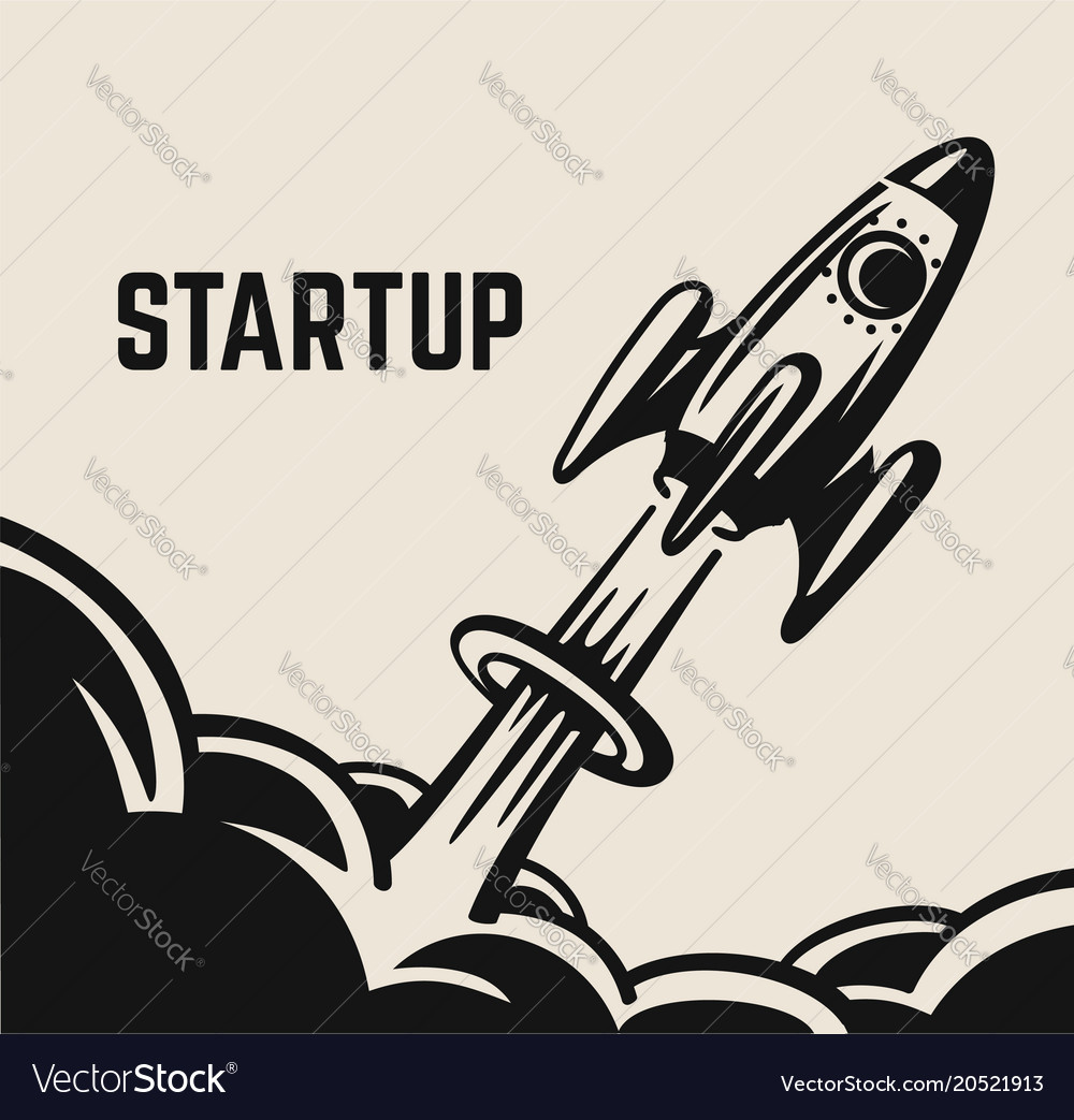 Startup take-off rocket vector image