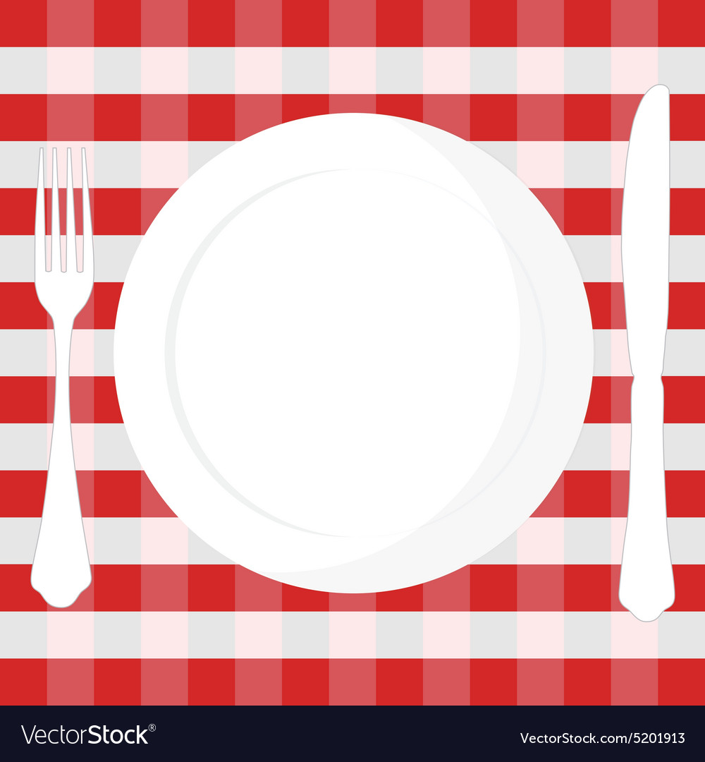 Tablecloth plate fork and knife