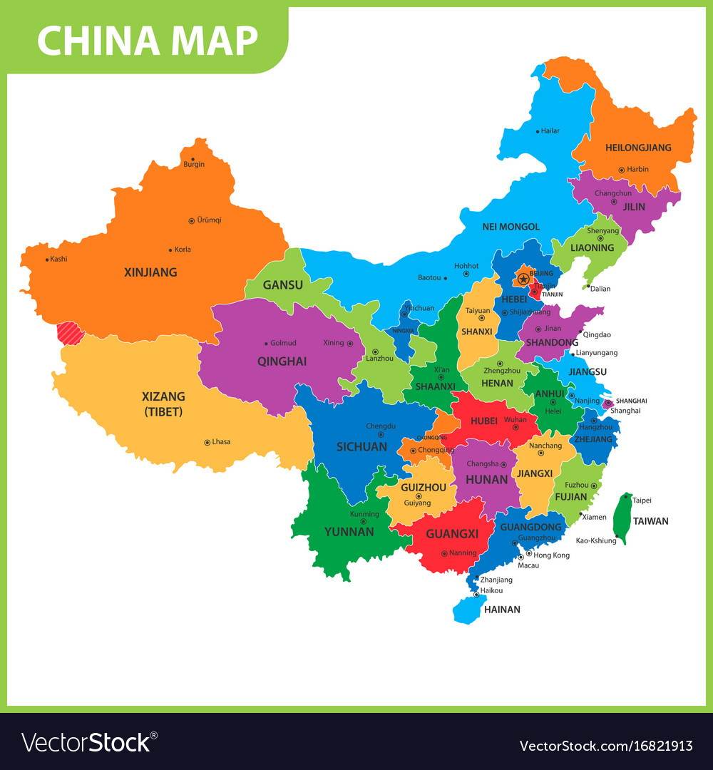 map of china detailed The Detailed Map Of The China With Regions Or Vector Image map of china detailed