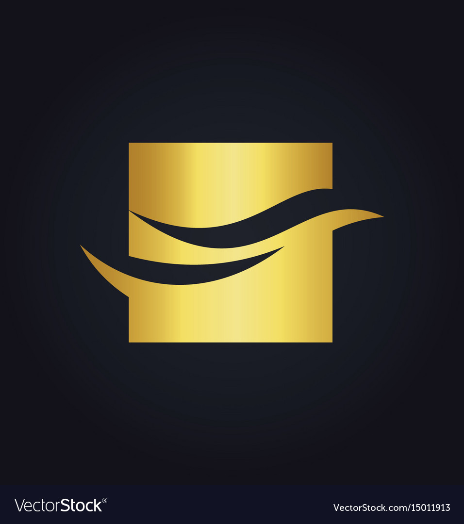 Wave abstract square business finance gold logo