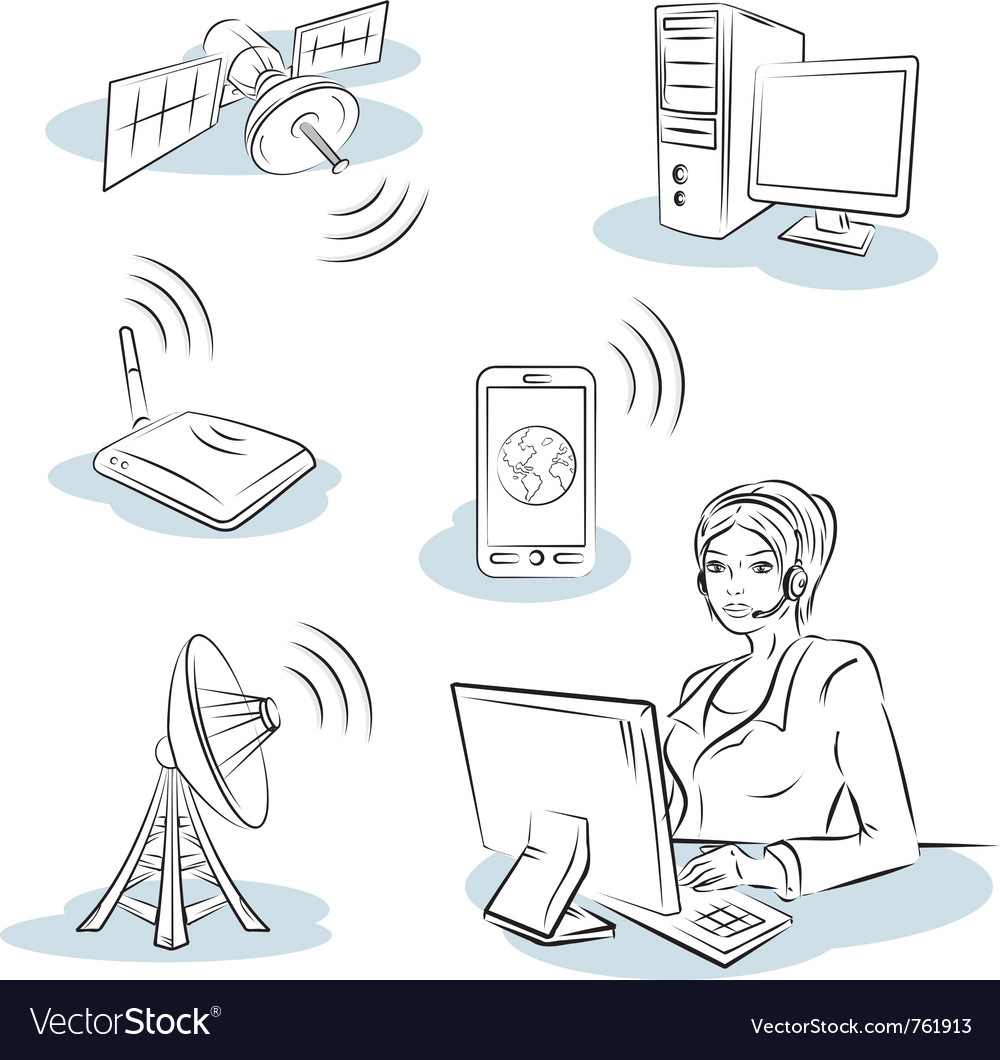 Wireless and communication vector image
