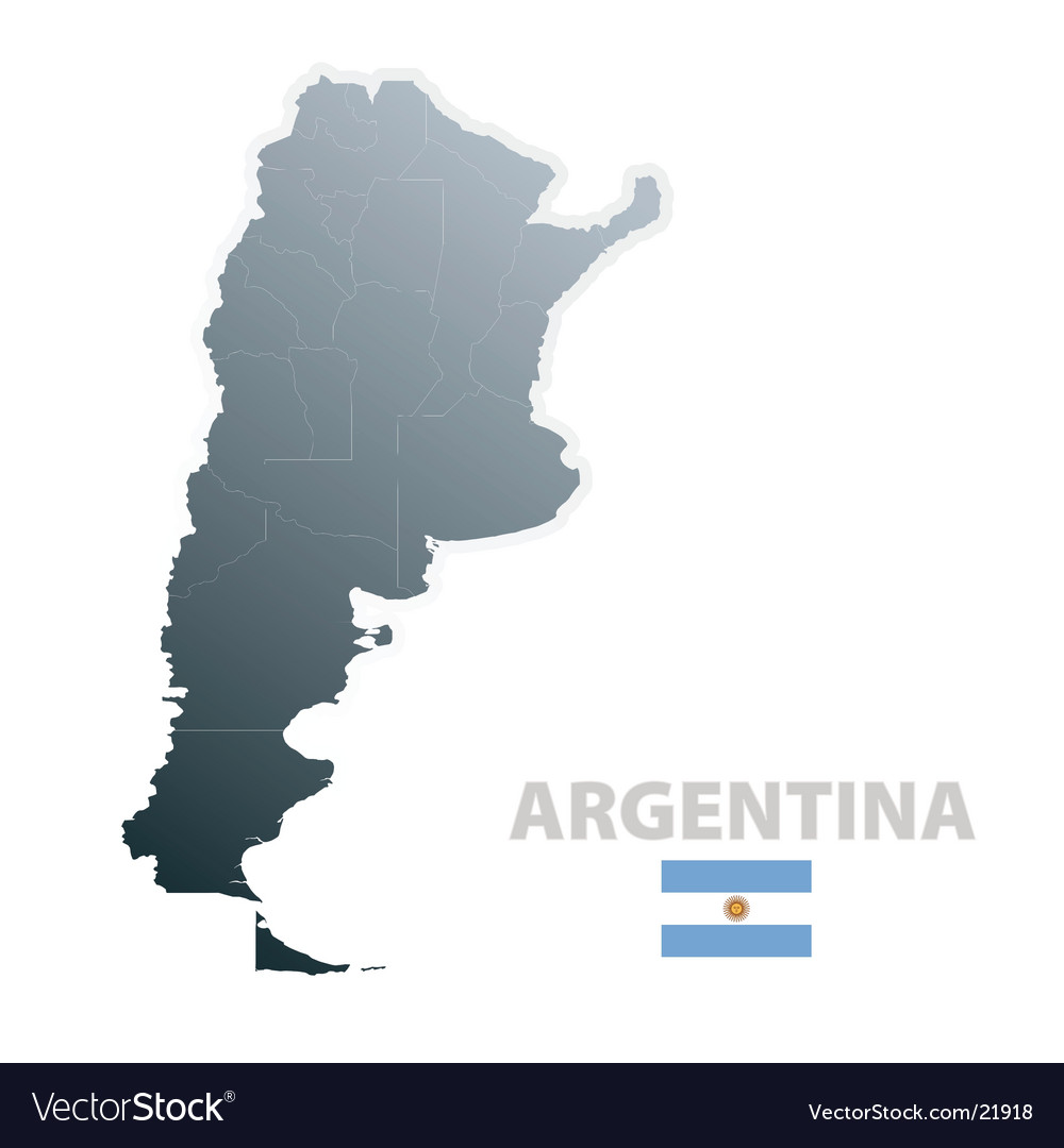 Argentina map with official flag vector image