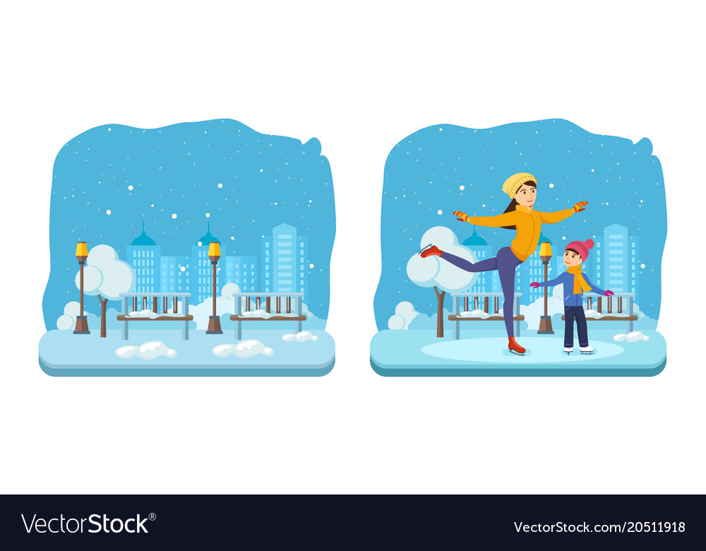 Boy with mom in winter clothes ride on ice
