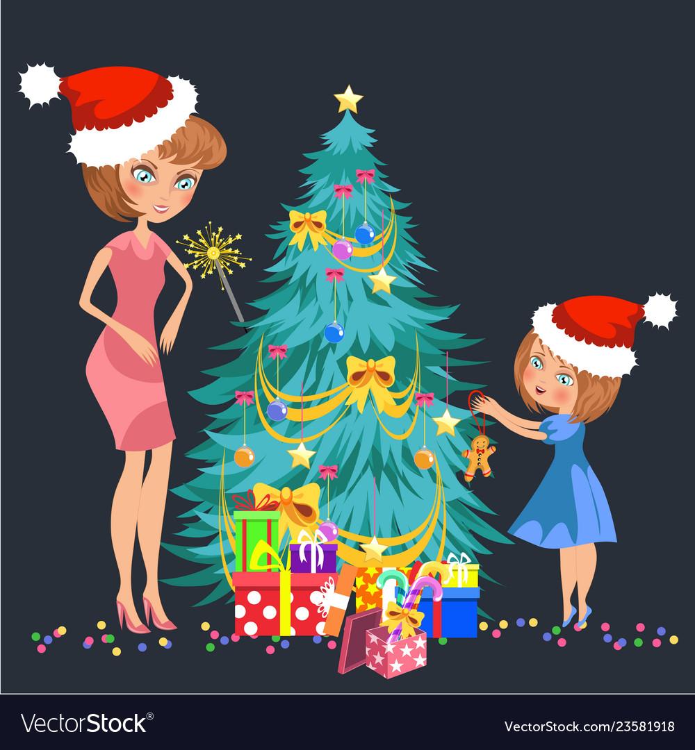 Mother Christmas Cartoon.Cartoon Mother And Kid Decorating Christmas Tree