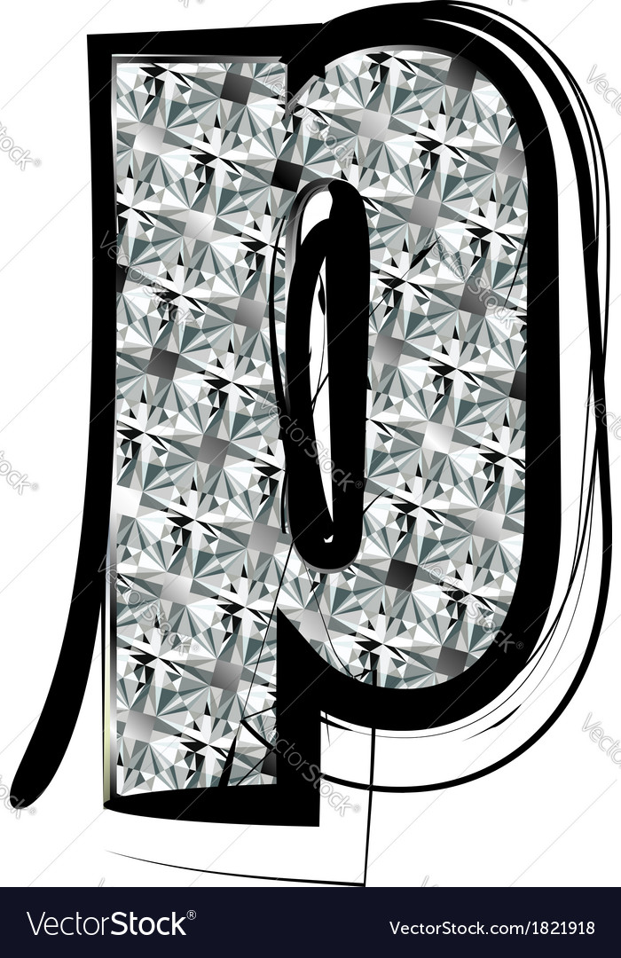 Diamond Font letter p vector image