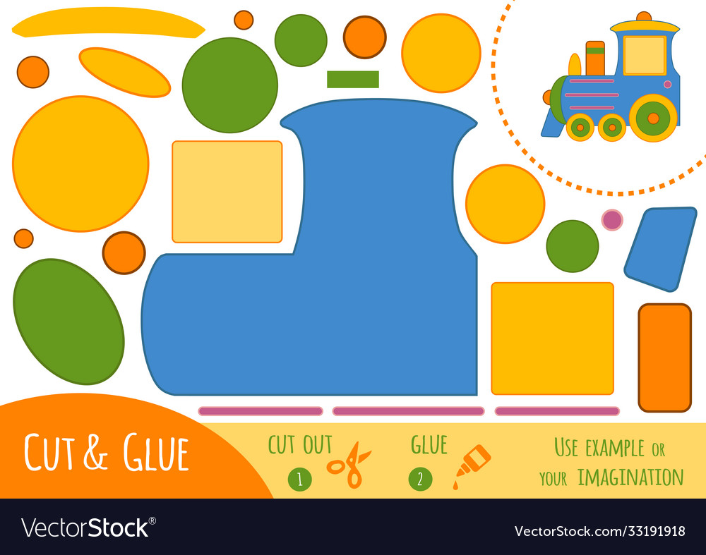 Education paper game for children train