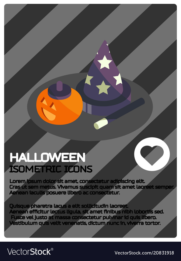 Halloween color isometric poster