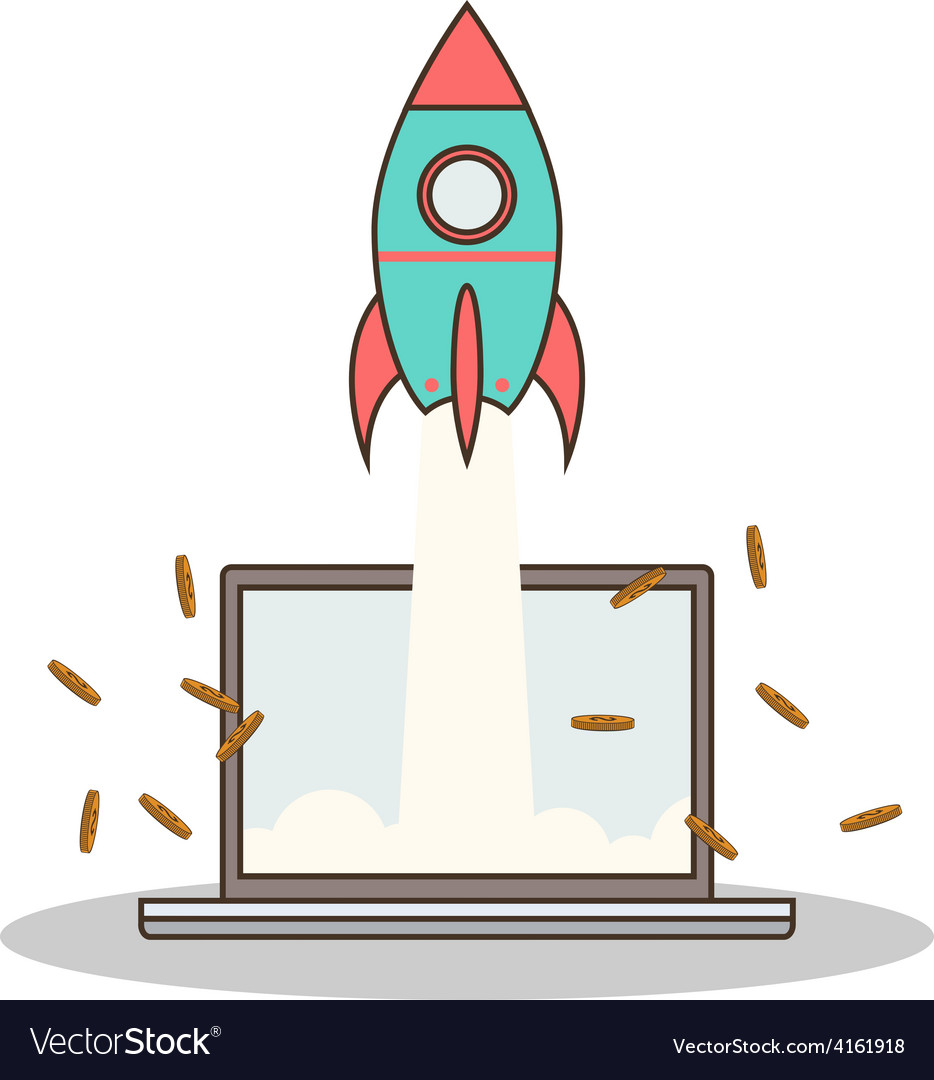 Isolated cartoon rocket and laptop online start up vector image