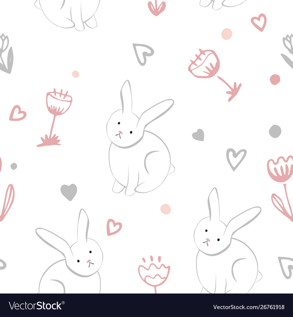 Little sweet bunny with spring flowers seamless