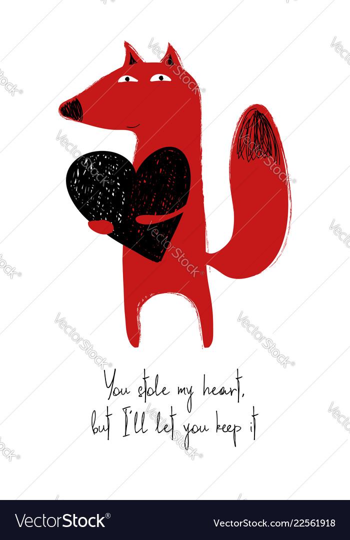Love card with cute fox