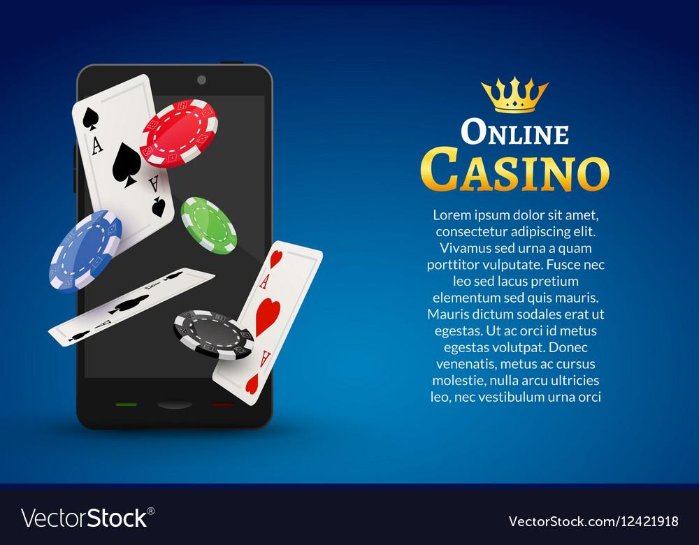 Online Mobile Casino Background Poker App Vector Image