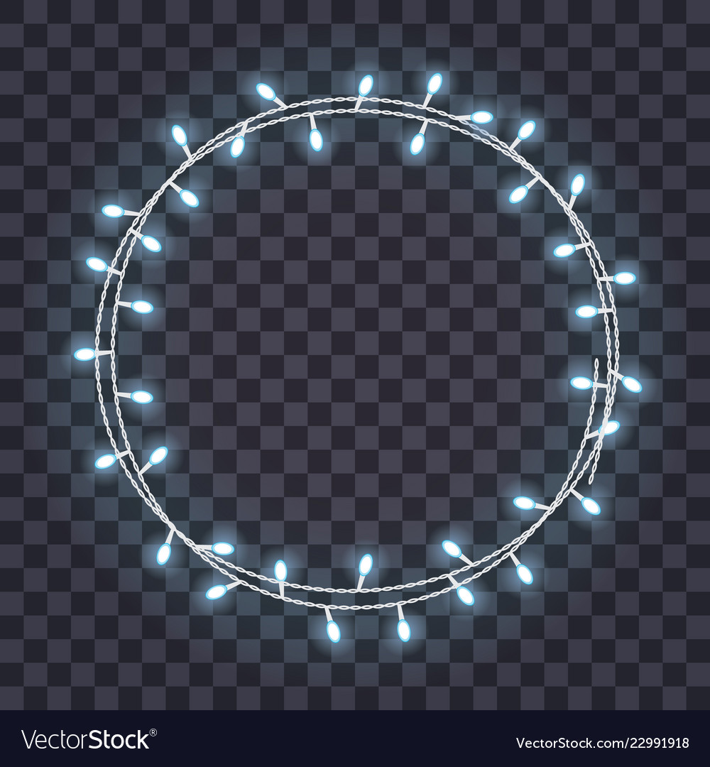 Round frame of overlapping glowing string lights