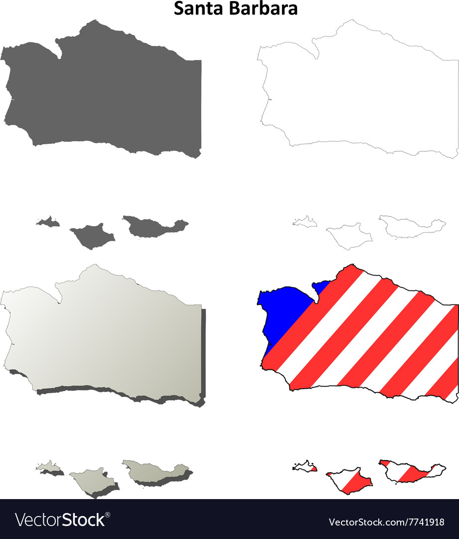 Santa Barbara California Map.Santa Barbara County California Outline Map Set