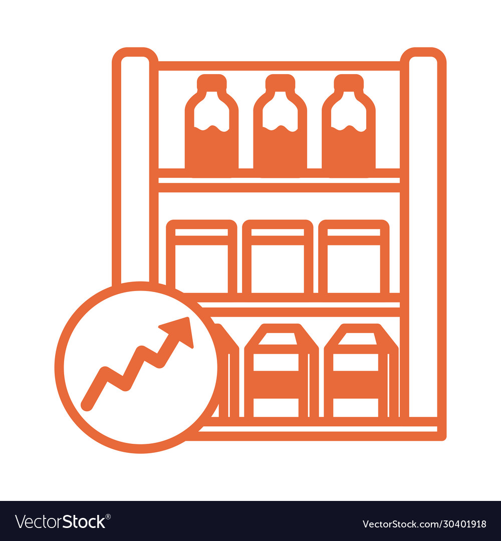 Shelving market with arrow up infographic line