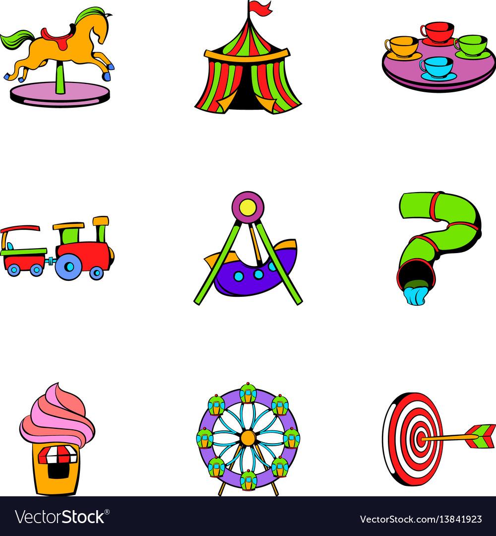Amusement park icons set cartoon style