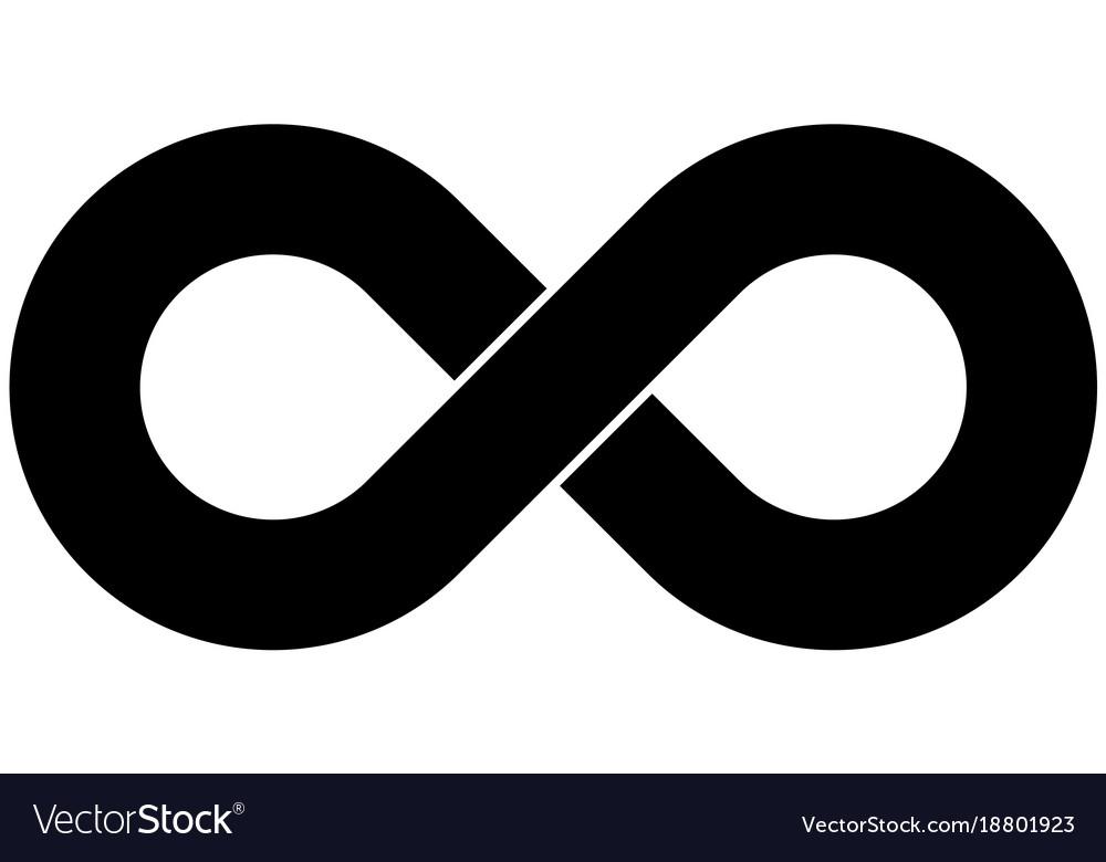 Black infinity symbol icon simple flat