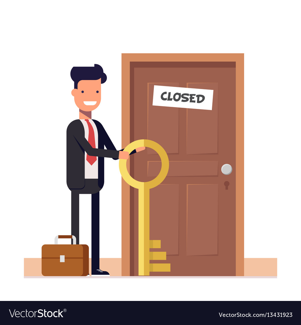 Businessman or manager with more keys standing