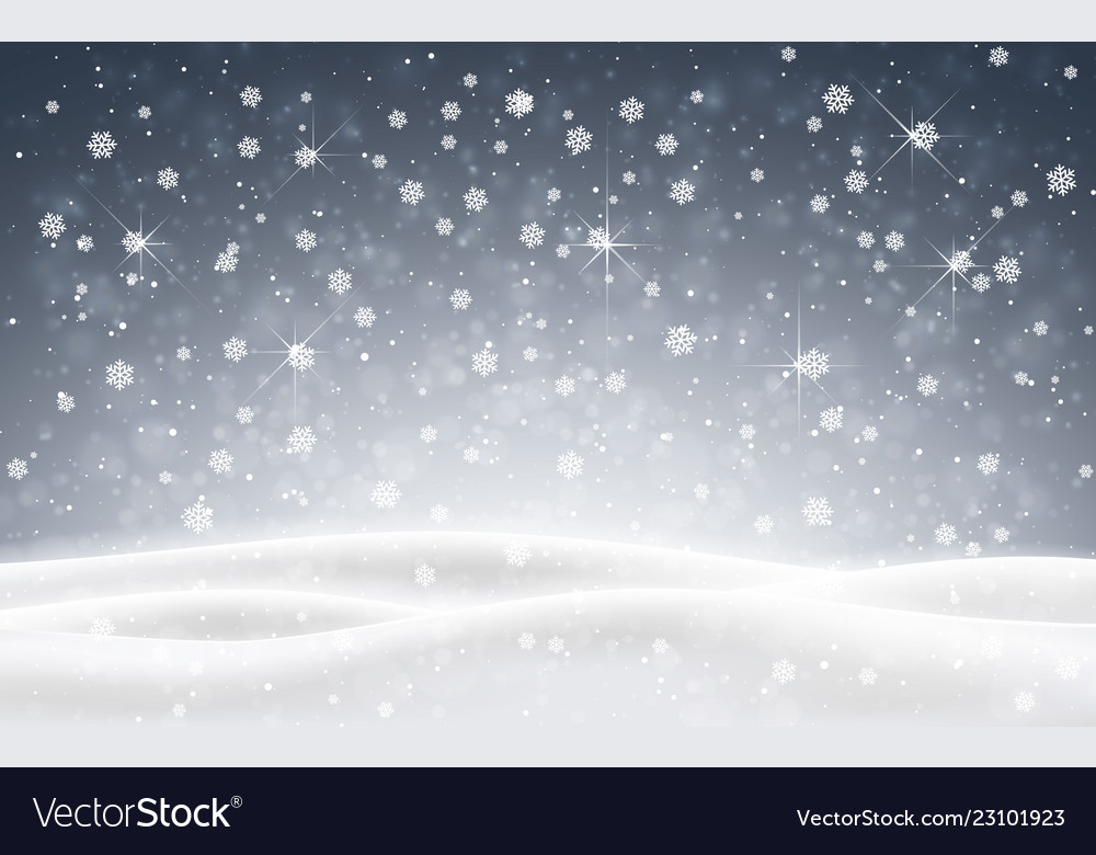 Christmas background of falling snow winter night