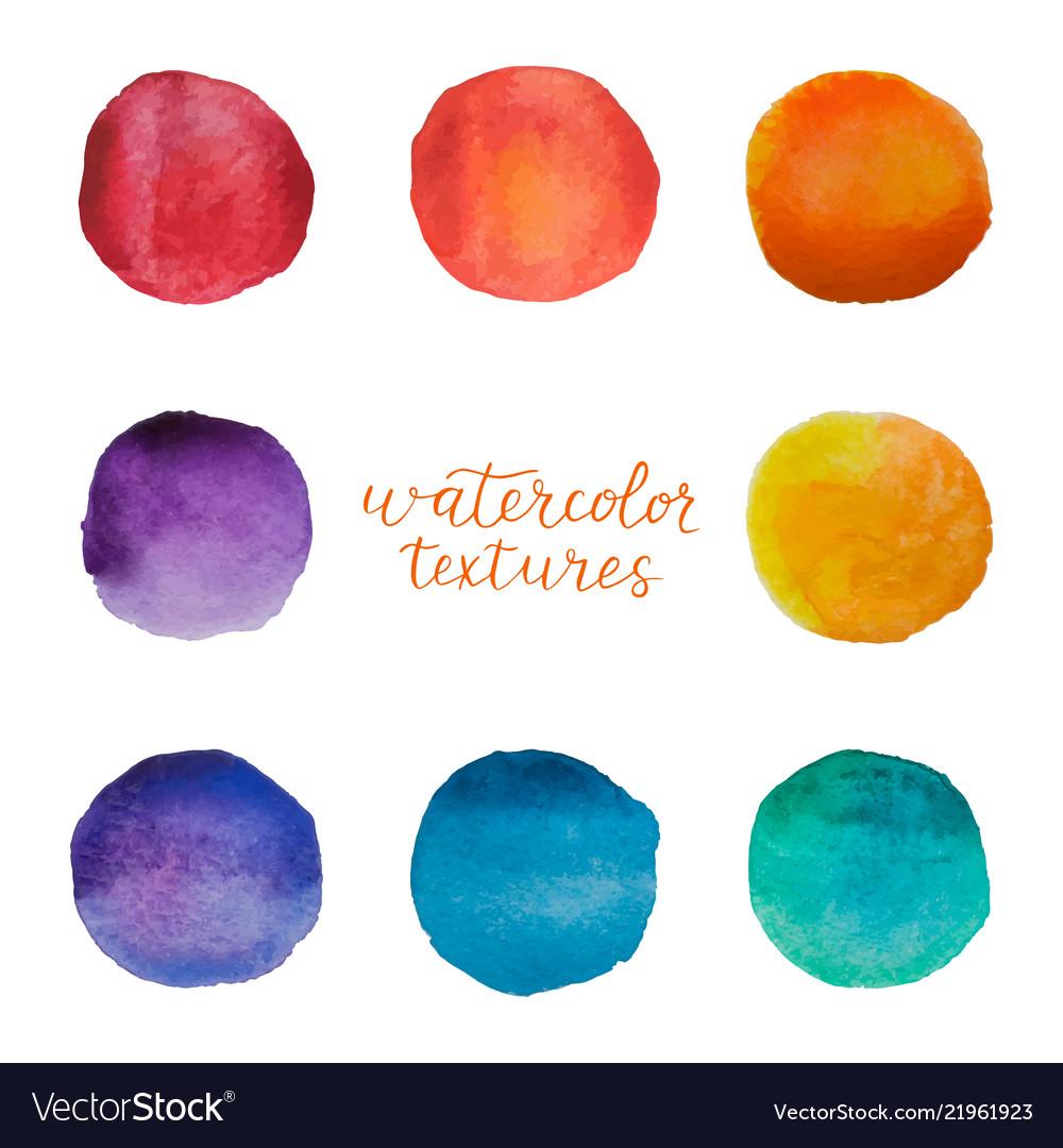 Colorful watercolor circles set watercolour