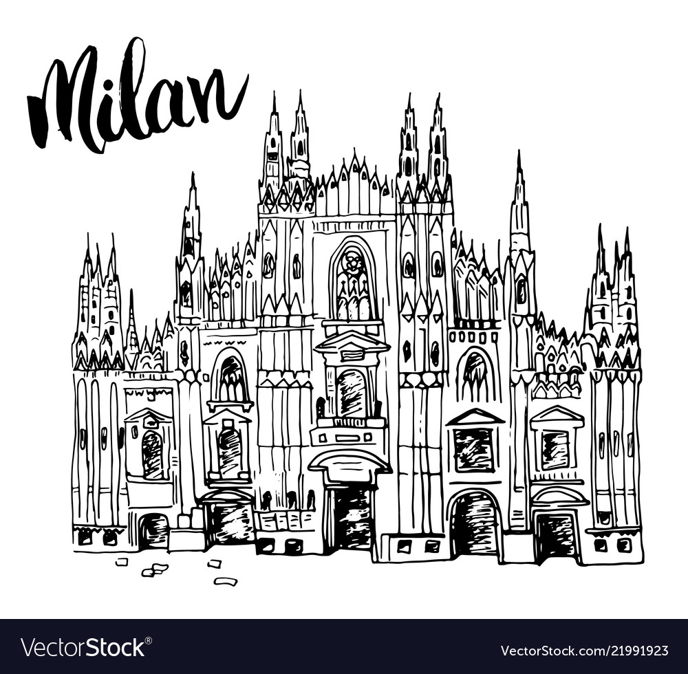 Duomo cathedral in milan italy hand drawn sketch