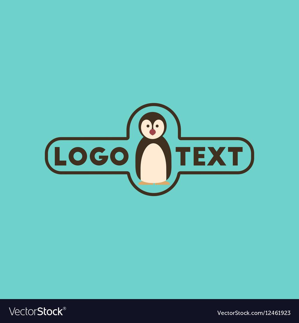 Flat icon on background penguin logo