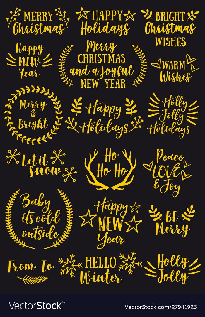 Gold christmas overlays design elements