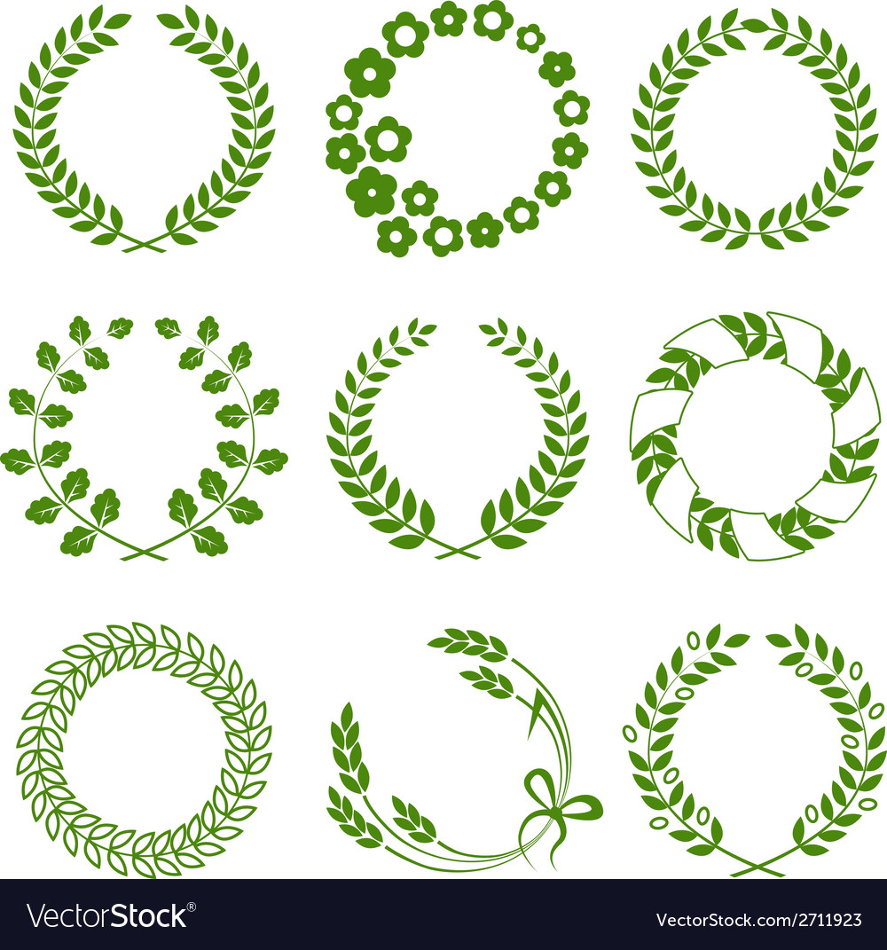 Green wreaths isolated on white background