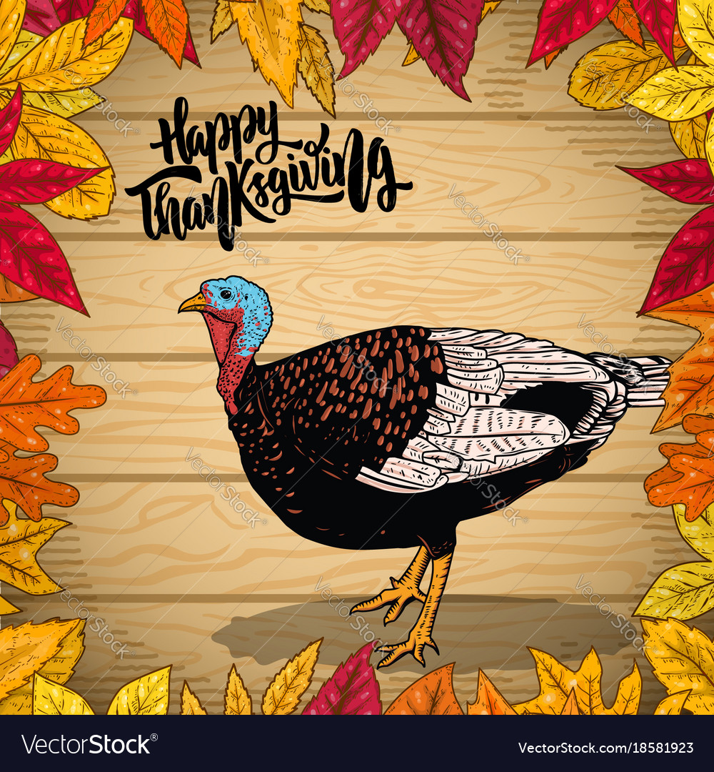Happy thanksgiving border from autumn leaves on