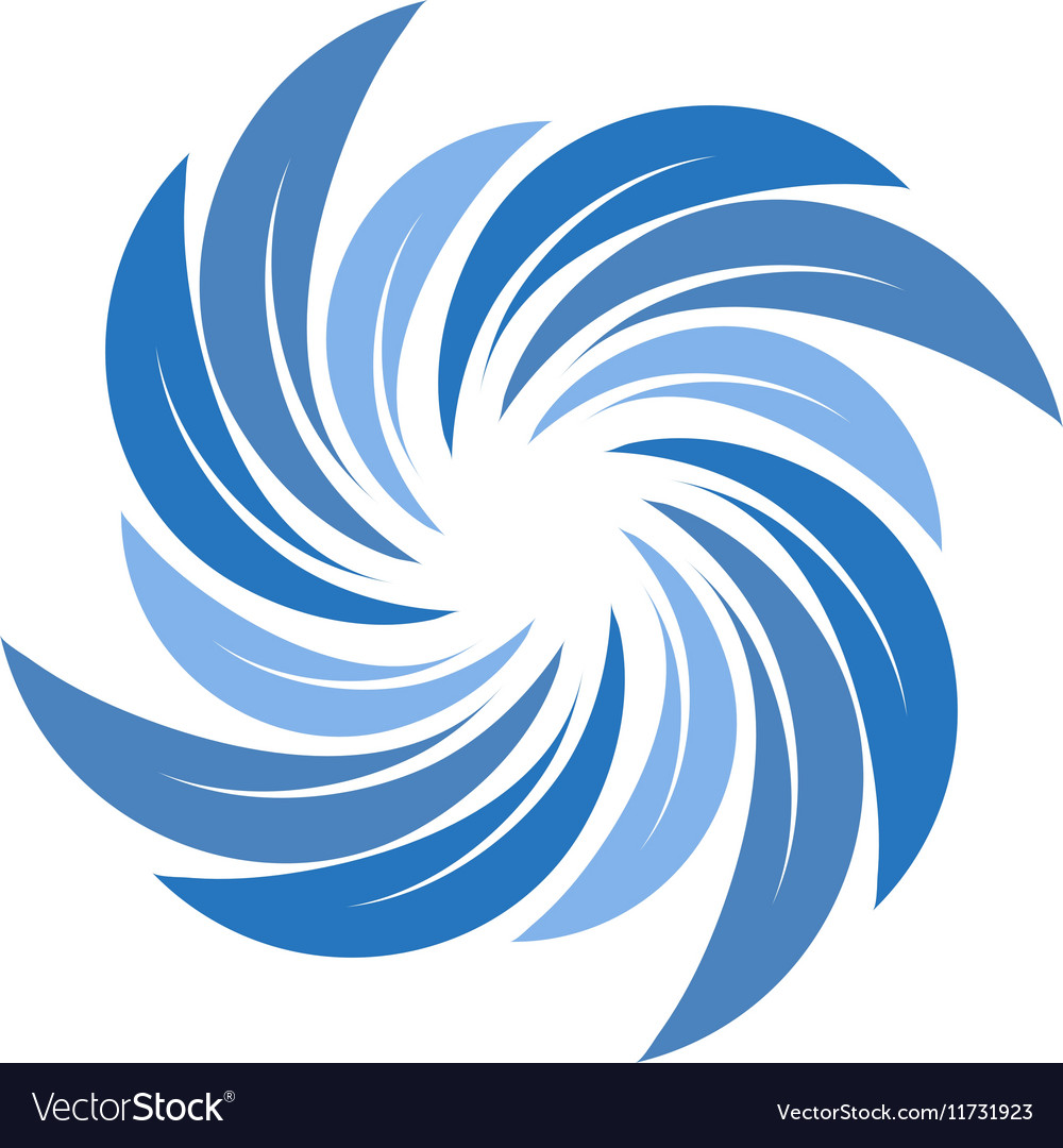 Isolated abstract blue color spining spiral logo