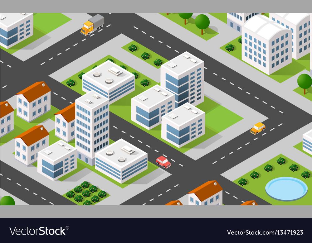 Isometric 3d city urban