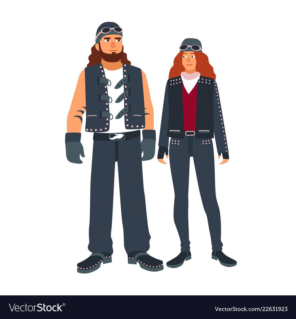 Pair of man and woman bikers dressed in black